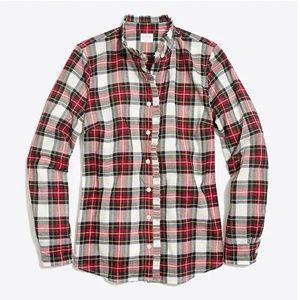 J. Crew || Ruffle-Front Plaid Button Down Shirt